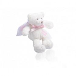 Ours peluche blanc avec étiquette plume 20g