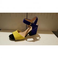 SANDALES ou NU PIEDS à TALONS de GEOX MARILYSE nubuck Yellow dark bleu D724UB