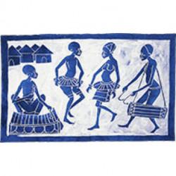 BATIK AFRICAIN - scène de danse - 63X51 cm