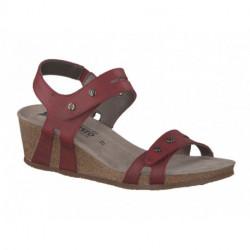 Nu pied confortable sandale femme de MEPHISTPO compensée MINA cuir rouge