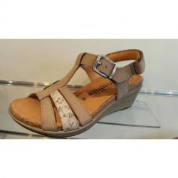 Nu pied confortable sandale femme de MEPHISTPO compensée WAINY MOBILS ERGONOMIC NUBUCK GRIS