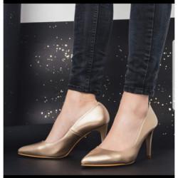 Escarpin pour femme G 8 REGINE GIULIA LIGHT GOLD VITELLO DORE mode élégance confort talon haut 7cm