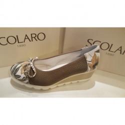 Ballerine compensée SCOLARO marque Italienne 10476 CUIR KAKI/BLANC/FLEURI