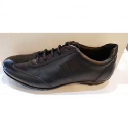 Chaussures LACET BASKET VILLE pour homme U SYMBOL B - cuir lisse noir U74A5B