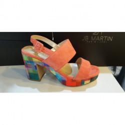 NU PIED JB MARTIN femme XIAO velours sunlight/mirage multi semelle multicolore