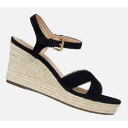Sandale femme D SOLEIL A ou D92N7C de GEOX cuir nubuck compensé corde Noir ou bleu dur ou ocre ou rouge