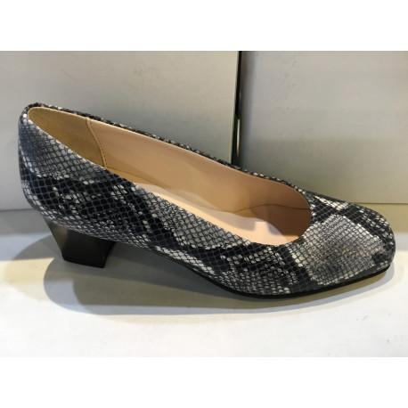 Escarpin de fabrication française de MARCO en cuir reptile gris noir CLEMENCE talon de 4cm doublé cuir