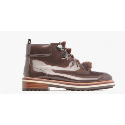 Boots de JB MARTIN - BRILLE VERNIS CACAO à lacet et fourrure cheville