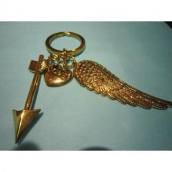 Porte-clé doré coeur